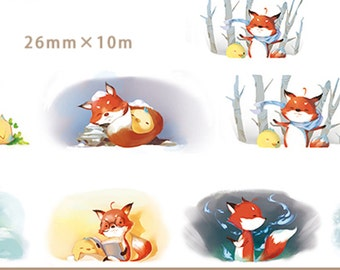 1 Roll of Limited Edition Washi Tape: Fox and Bird in Winter