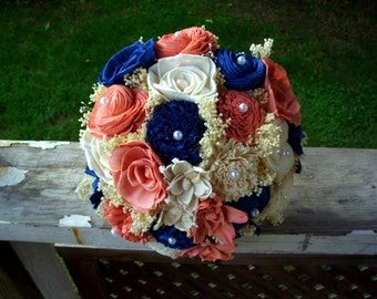 Navy blue and coral sola bouquet | rustic bridal bouquet | rustic wedding | rustic bouquet | sola bouquet | keepsake bouquet | sola flowers