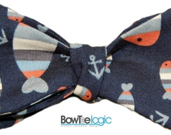 BowTie Logic Fish and Anchors on Navy Blue Cotton Self Tie Bow Tie