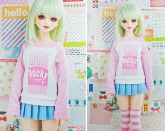 BJD Sweater for Slim MSD Minifee or SD - Strawberry Pocky