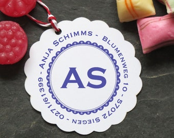 Stamp with initials and address of ♥ 40mm ø