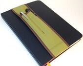 Notebook Pencil Holder 2 sizes 2-pocket Bandolier-- wood nymph
