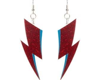 Aladdin Sane lightning bolt earrings - laser cut glitter acrylic