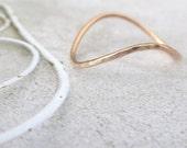 9ct Rose Gold Midi Ring - Rocking Wishbone