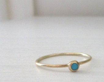 Turquoise and 9ct yellow gold ring - Orbit collection