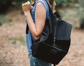 Black cotton backpack PANDA / natural leather handles / perfect for picnic, walking and bicycle trips