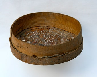Antique Italian salvaged wooden sieve