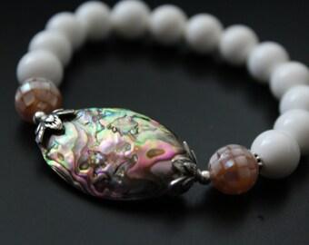 SALE Originally 24.00 Now 19.00 - Pink abalone and white shell bracelet pink mosaic shell and Bali sterling bracelet beach boho stretch