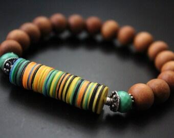 African vulcanite and sandalwood bracelet chrysoprase bracelet gemstone bracelet aromatic fragrant bracelet boho stretch stacking bracelet