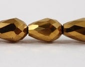 """Gold Crystal Beads 12x8mm Metallic Gold Crystal Teardrop Beads, Chinese Crystal Drop Beads, Faceted Glass Beads on a 7"""" Strand with 15 Beads"""
