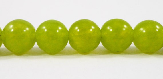 """Olive Jade Beads 8mm Round Gemstone Beads, Olive Green Candy Jade Beads, Dyed Mountain Jade Stone Beads on a 7 1/4"""" Strand with 24 Beads"""