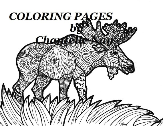 Moose Coloring Page Adult Picture Animals Wildlife Zentangle Advanced Printable Pages