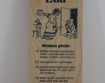 "Vintage ""Kodin Laki"" ""Law of the home- Man must...."