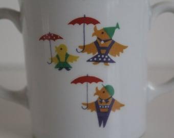 """Vintage Arabia's childrens mug """"Peukaloinen"""" """" Wren"""" - absolutely adorable"""