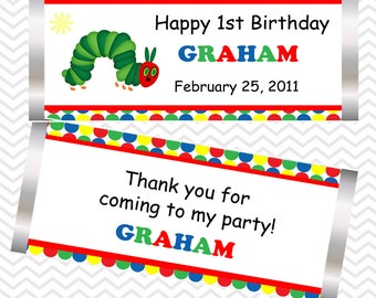 Hungry Caterpillar - Personalized Candy Bar Wrapper, Birthday, Baby Shower