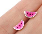 Small watermelon earrings, Tiny silver earrings, Pink enamel jewelry, Flashy earrings, Pink earrings, Fruit jewels