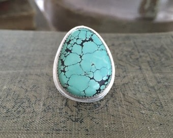 Number 8 Turquoise Ring Sterling Silver Boho Festival Hippie Gypsy Size 7 Ready to Ship by ShesSoWitte