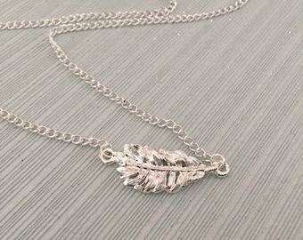 Silver Feather Necklace, dainty necklace, short necklace, feather charm, boho, layering necklace, silver plated charm, feather jewellery