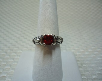 Round Cut Red Andesine Ring in Sterling Silver  1710
