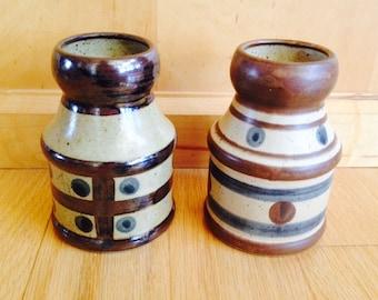 SALE! pair of vintage stoneware vases Japan