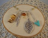 Silver Charm Necklace- Leaf, Wood, Turquoise, Feather, Flower- One of a Kind!