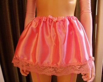 S-4X Sissy Skirt Pink Satin on Pink Lace S M L XL 2XL 3XL 4XL 2X 3X 4X Adult Baby Slip Lingerie CD Drag Cosplay