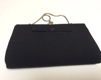 Vintage Evening Bag, Black Evening Bag, Metro Made in USA, Bow Detail, Excellent Condition, 1960s