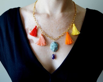 Gemstone Tassels SUMMER NECKLACE / turquoise amethyst gemstone necklace, gold plated chain, red coral peach orange yellow tassels