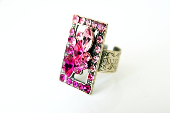 FUCHSIA Pink SWAROVSKI RING / art deco rhinestone swarovski adjustable ring / bridesmaids jewelry gift / mother gift / cool chic gift ideas