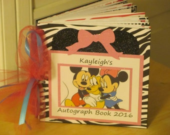Disney Autograph Book  Minnie Mouse Mickey Mouse Pluto  Album Scrapbook in Hot Pink, Black and White