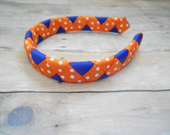 """Orange and Navy woven headband for American Girl doll and other 18"""" dolls"""