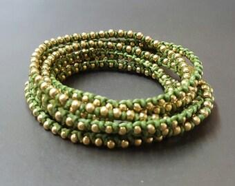 3 Wrap  Olive Green  Brass  Bracelet/Necklace