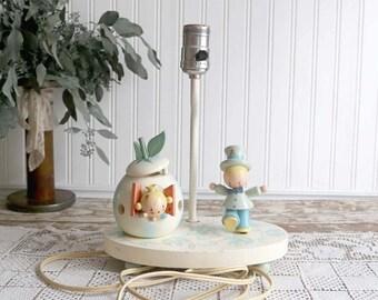 Vintage Nursery Lamp, Pastel Nursery Lamp, Nursery Lamp and Nightlight, Cottage Nursery Decor