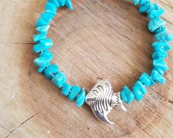 Angelfish  Turquoise Stone  wristlet, turquoise natural stones bracelet, Turquoise Jewelry  bracelet, Mens Womens,