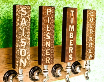 "4 Custom Beer tap handles - 2""X10"" (1""thick) - Maple"