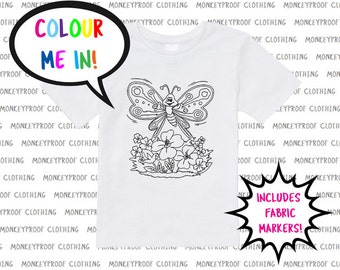 Colour Me Happy, Colouring In Tee, Includes Fabric Markers! Shirts for Kids, Shirts for Girls, Shirts for Boys, Gift, Christmas Present
