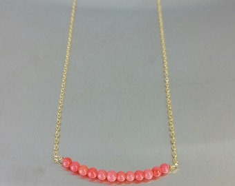 Japanese Red Coral Bar Necklace