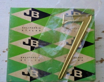 "ON SALE Vintage, Jaybee, House Number, 7, Seven, California Styled, 4"", 4407-03-01, Solid Polished Brass Non-Rusting, New Old Stock, Made in"