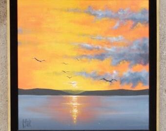 Vintage, 1970's, Sunset, Seascape, Seagulls,  Avante Studios, Mid-Century Modern,  Signed- R Stark, Oil Painting, Art, Framed, Orange