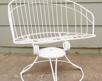 1960'S, Homecrest, Wire, Chair Eames Era, Metal, White, Barrel Chair, Vintage, Mid Century Modern, Swivel Rocking Chair, Lounge Chair