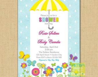 April showers baby shower invitation, spring baby shower invitation, umbrella baby shower invitation, garden baby shower invitation, spring