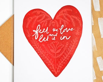 Feel The Love and Let it In A4 Print | Love Print | A4 I Love You Print | A4 Heart Print | Love Illustration | Wedding Print | Couple Print