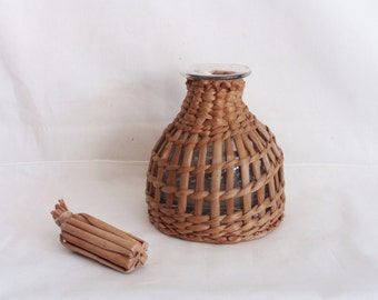 Woven wicker covered vintage glass bottle, with stopper, liquour & wine jug, mini demijohn. Rustic decor
