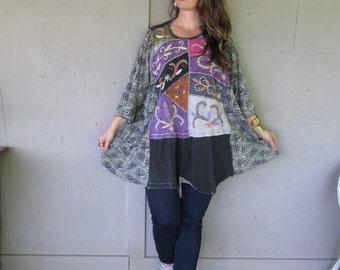 Boho Kaftan tunic upcycled clothing loose top one size oversize plus size hippie Artsy tattered top Caftan Eco Boho shirt LillieNoraDryGoods