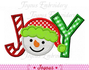 Instant Download JOY With Snowman Applique Machine Embroidery Design NO:1875