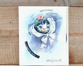 Die Cut Greeting Card Unused Card Get Well Best Wishes Puppy and Kitten Wearing Bonnet 1940