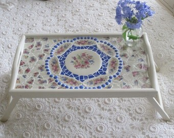 Romantic Cottage Folding Bed Tray with Heinrich Bavarian China Mosaic