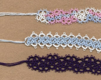 Set of 3 tatted lace book markers