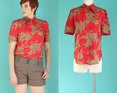 Vintage 80s Tie Neck Blouse - Tropical Print Orange Blouse - Floral Blouse - Short Sleeve Blouse - Bow Blouse - Silky Blouse - Size Medium