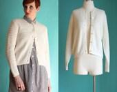 Vintage 60s Cardigan - Button Front Winter White Cardigan - Cream Sweater - Ivory Knit Cardigan - Wintuk Acrylic Mod Sweater - Size Medium